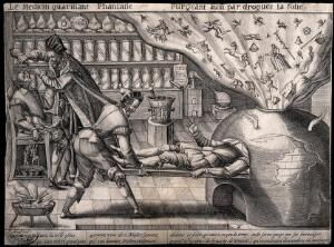 view A surgery where all fantasy and follies are purged and good qualities are prescribed. Line engraving by M. Greuter, c. 1600.