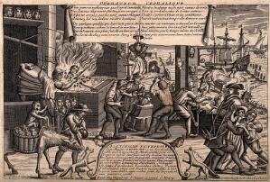 view The heads of women are reforged in a workshop by the sea; suggesting a cure for the 'madness' of women. Line engraving, 17--.
