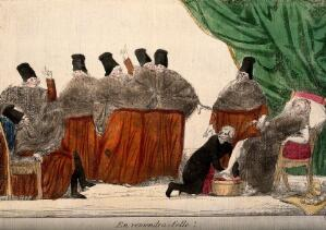 view Seven clergymen watch as a physician bathes the feet of a sick, aristocratic lady; suggesting the uncertainty of the clergy faced with the ousting of the aristocracy in France. Coloured etching by S.J., 1791.