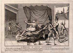 view An apothecary attempts to give an Englishman an enema but is restrained by an American; medical aid is prevented by a Frenchman and Spaniard; symbolising the problems caused for the English by the American war for independence. Line engraving, 1778.