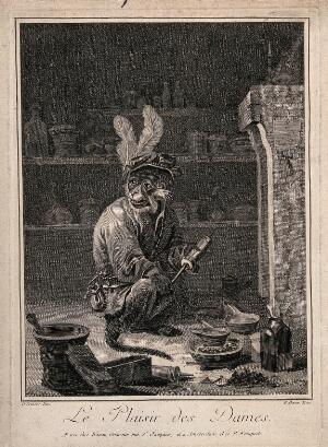 view A monkey holding a clyster in an apothecary's shop. Engraving by F. Basan after D. Teniers the younger.