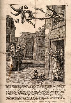 view A man is blown out of a window by an enema. Engraving.