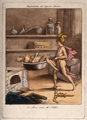 view Mercury, an agent of the Terror, carries Capucin Chabot naked towards a furnace; recording the turnover of human life during the Terror in the French Revolution. Coloured aquatint, ca. 1794.