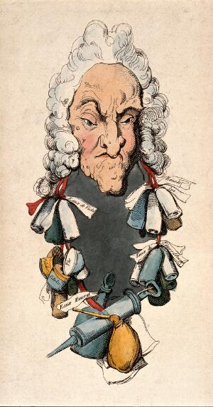 view A physician with a garland of bottles, pill boxes and a clyster-pipe. Coloured etching after T. Rowlandson.