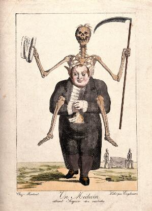 view A doctor, straddled by a skeleton, holds a full purse in his hands; signifying that he lives well off others' deaths. Coloured lithograph by G. Engelmann.