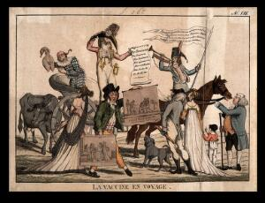 view A procession of health officials ironically proclaiming the coming of vaccination. Coloured etching.