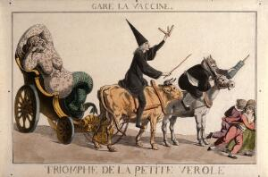 view A diseased woman turning into a mermaid, a physician riding a cow and an apothecary wielding a syringe form a grotesque procession that scares children; referring to the distrust of the French public in the face of vaccination. Coloured etching.