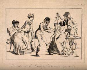 view A corpulent woman provides the pustule for the vaccination of a child by a couple of dandified doctors. Etching, c. 1800.