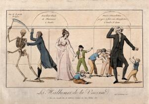view The history of vaccination seen from an economic point of view: A pharmacy up for sale; an outmoded inoculist selling his premises; Jenner, to the left, pursues a skeleton with a lancet. Coloured etching, c. 1800.