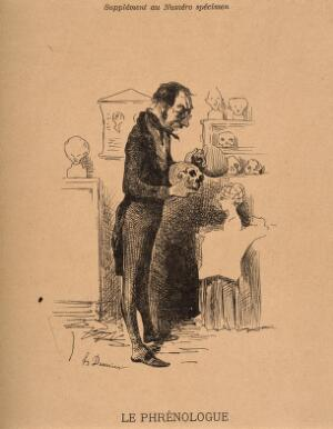 view A phrenologist examines two skulls from his collection. Reproduction of an etching by H. Daumier.