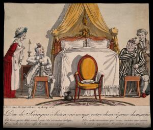 view An old, rich couple enjoy the latest fad in baton-powered enemas. Coloured engraving by G. de Cari (?).
