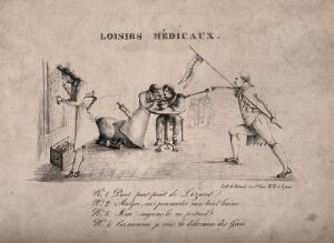 view Three scenes illustrating the vanity of doctors. Lithograph by Béraud.
