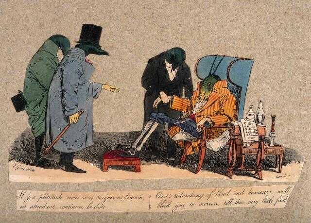 Three leeches in the role of physicians attend a grasshopper in the role of the patient and propose diet and bloodletting. Coloured lithograph after J.J. Grandville, ca. 1832.