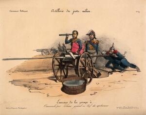 view A hybrid of a cannon and a clyster is attended by General Georges Mouton and Gabriel Delessert, the chief of police; representing their use of the water-cannon to dispel an uprising. Coloured lithograph.