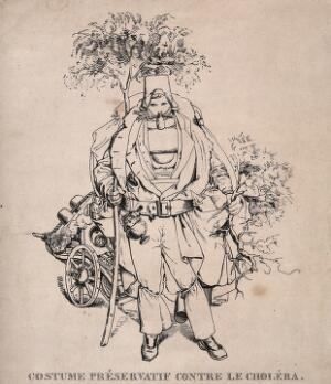 view A man dressed in absurd protective clothing against the cholera epidemic. Etching, c. 1832.