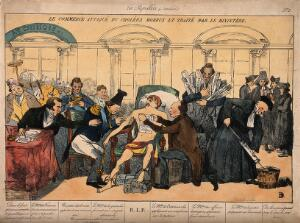 view Mercury lies dying from cholera, surrounded by ministers; representing the sickly state of the French economy in the 1830s. Coloured etching, c. 1832.