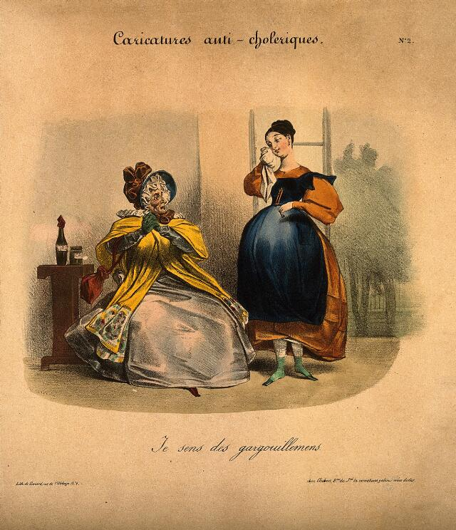 A young woman dabs her eye as her mother looks askance; she suspects the onset of cholera. Coloured lithograph, c. 1832.