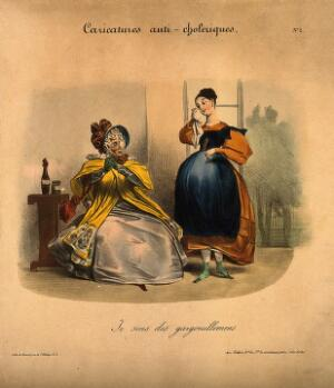 view A young woman dabs her eye as her mother looks askance; she suspects the onset of cholera. Coloured lithograph, c. 1832.