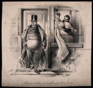 view A portly, well-to-do physician leaves his house, while his wife cavorts in the window with a young dandy. Lithograph by P. Numa, c. 1832.