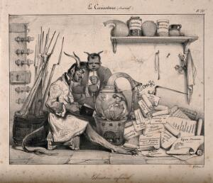 view Two devils in a laboratory produce statutes with the help of a genie; showing the repressive nature of the government of France under Louis-Philippe, especially concerning the freedom of the press. Lithograph by E. Le Poittevin, 1831.