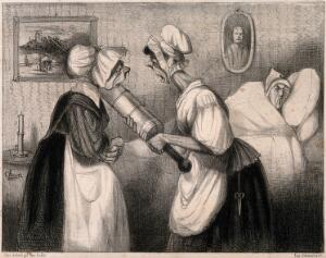 view Two maids confer on whether to 'refresh' a sick man even further by putting cold water into his enema. Lithograph by Cham, c. 1840.