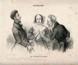 view A young woman and her physicians assure each other that she is cured of squinting, but alas she is not. Lithograph, c. 1830-1841.