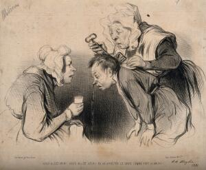 view A maid puts a key down a man's shirt to stop his nosebleed. Lithograph, c. 1835-1841.