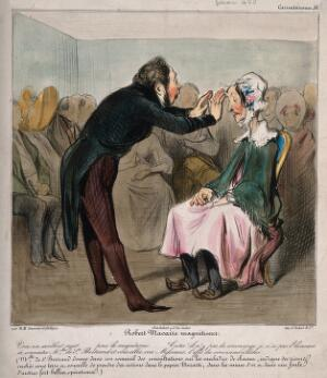 view Robert Macaire mesmerises an old lady in front of an audience. Coloured lithograph by H. Daumier.