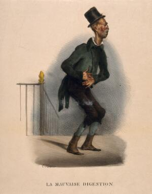 view A poor man suffering from indigestion. Coloured lithograph by C.J. Traviès.