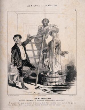 view A man is treated to a cascade of water in the name of hydropathy. Lithograph by C. Jacque, 1843.