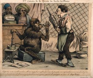 view A monkey rejects the old style clyster for his new 'clyso-pompe', which he fills with opium and marshmallow. Coloured lithograph.