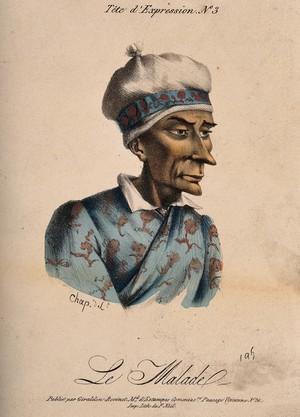 view A sick man. Coloured lithograph by Chap (?).