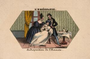 view A young woman being attended by a (homoeopathic?) physician. Coloured photolithograph.