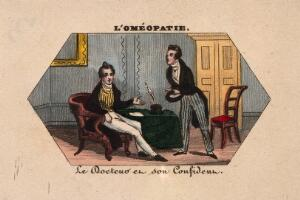 view A young doctor confides in his equally fashionably dressed friend. Coloured photolithograph.