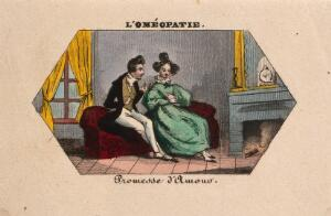 view A young doctor vows his love to a thoughtful young woman. Coloured photolithograph.