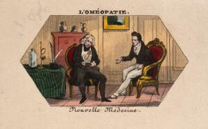 view A young homoeopathic doctor converses with his patient. Coloured photolithograph.