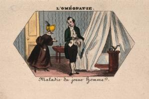 view A young homoeopath takes a cup to a sick young man hidden in his bed. Coloured photolithograph.