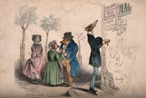 view Animals dressed as gentlemen and ladies survey the medical advertisements on a wall. Coloured wood engraving by J. Grandville, 1853.