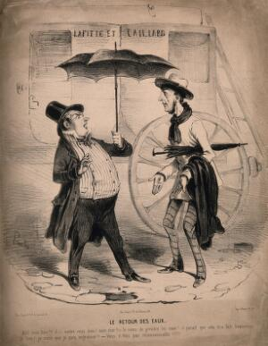 view A man influenced by the fashion for hydropathy stands in the rain and encounters a friend. Lithograph, c. 1845.
