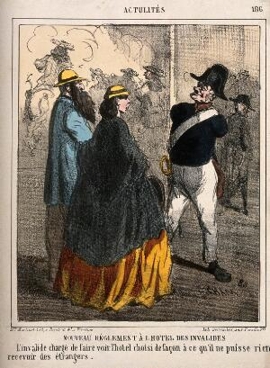 view An armless veteran of the Hôtel des Invalides is hired as a guide for visitors, in order that he take no money from them. Coloured lithograph by Cham.