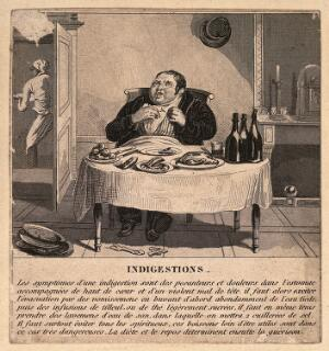 view A corpulent gentleman with indigestion. Line engraving, c. 18th century.