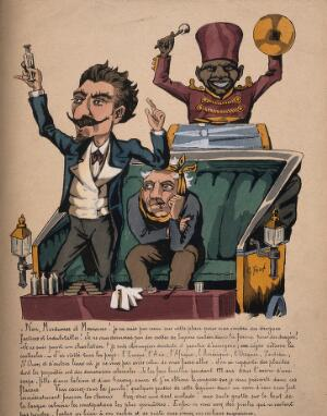 view A medicine show; a moustachioed charlatan holds up a phial, a miserable patient sits in the carriage and a black man in uniform bangs the drums. Coloured lithograph by G. Frison.