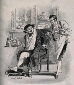 view A wealthy man at his dinner table is offered a clyster by a servant. Lithograph by Tal-Zar.