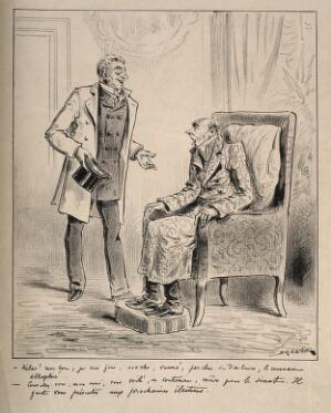 view A decrepit old man is told by his friend that he is ripe for a position in the government. Lithograph by J-R. Draner.