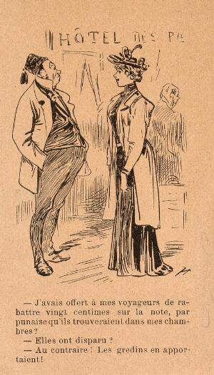 view The manager of a hotel discusses the extermination of bedbugs with a lady. Wood engraving by 'Henriot' (H. Maigrot).