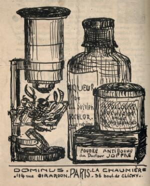 view A collection of 'anti-boche' - ie. anti-German - medicine bottles, next to a scorpion about to be pulverised. Lithograph.