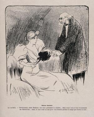 view A woman patient at a spa is told by her doctor that the treatment for her fertility might be helped by the presence of a 'diverting friend' - i.e. him. Lithograph by M. Stephane, c. 1896.