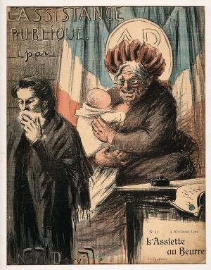 view An old wet nurse; symbolising France as nanny-state and public health provider. Colour photomechanical reproduction of a lithograph by N. Dorville, 1901.