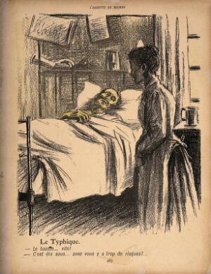 view A contagiously ill man asks for the bed-pan; the nurse tells him that it will cost ten sous for the risk. Colour photomechanical reproduction of a lithograph by N. Dorville, c. 1901.