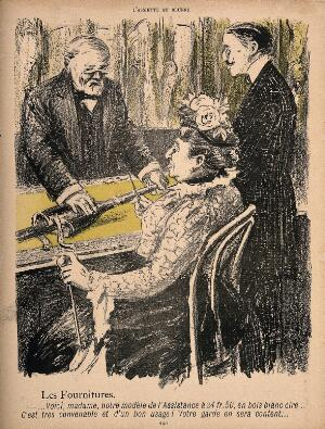 view A man sells a woman an artificial leg at national health service prices. Colour photomechanical reproduction of a lithograph by N. Dorville, c. 1901.